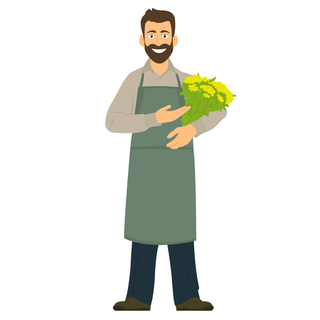 Man florist shows a bouquet of flowers. vector illustration Stock Illustratie
