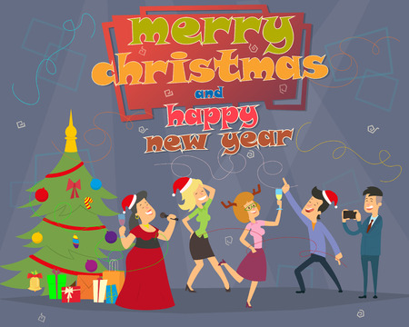 People Celebrate Merry Christmas And Happy New Year Men And Women Wear Santa Hats Holiday Eve Party Concept Flat Vector Illustration Ilustração