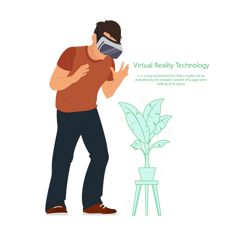 Man in device for virtual reality. new technologies. Vector