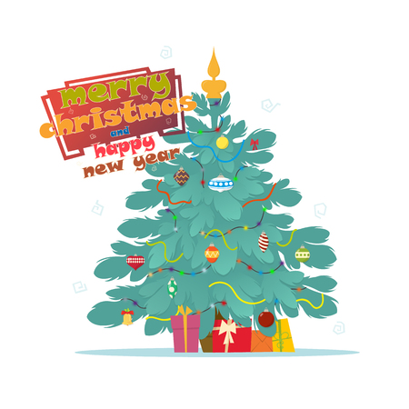 Christmas background with decorated tree and gift boxes. Vector illustration isolated on white.