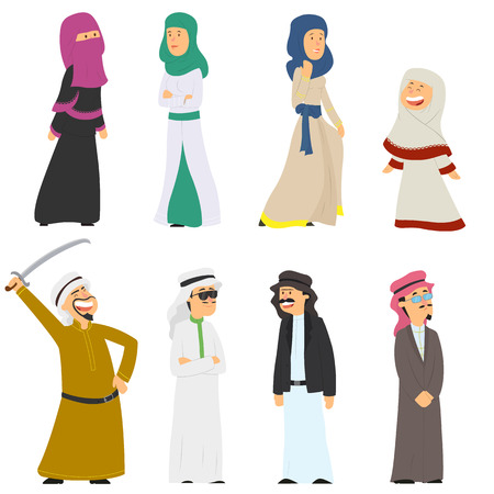 set of Arab people in national costumes isolated on white background. vector illustration. Imagens - 117688748