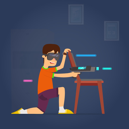 The boy uses virtual reality glasses to play active games. vector illustration.