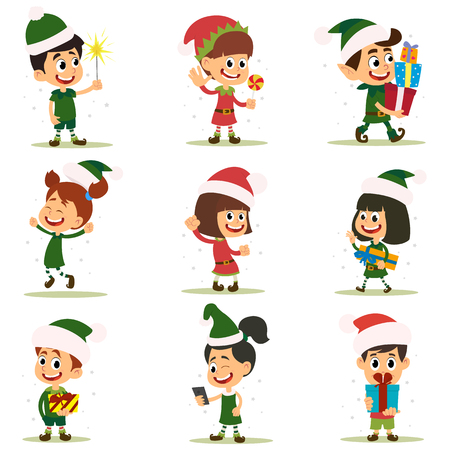 Set of elves kids cartoon character. Vector icons isolated on white background. Illustration