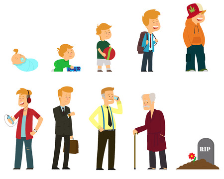 Generations men. All age categories - infancy, childhood, adolescence, youth, maturity, old age. Vector illustration 向量圖像