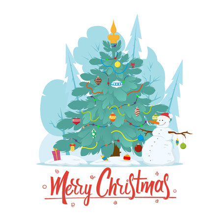 Christmas Christmas tree next to a snowman in a winter forest. vector illustration isolated on white background.