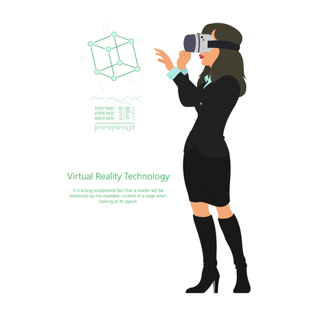 woman in virtual reality glasses. new technologies. vector illustration.