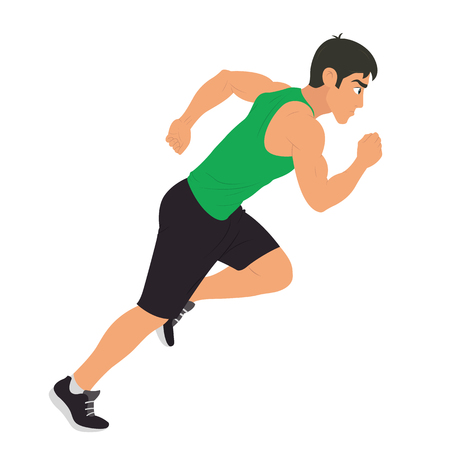 Running young man character isolated vector illustration.