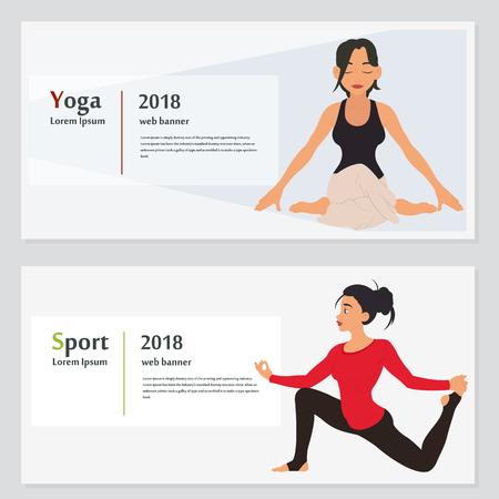 Yoga banner collection. vector illustration.