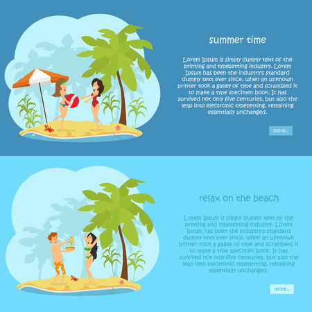 set of horizontal banners on the theme of rest, travel, relaxation on the beach. vector illustration