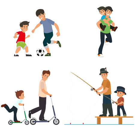 Dad and son play, fish, chase the ball and ride a scooter. vector illustration