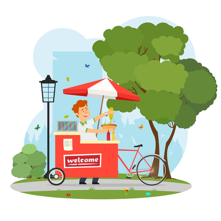 seller of hot dogs with a mobile cart in the city park. vector illustration