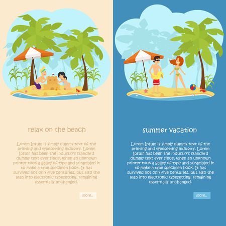 set of vertical banners on the theme of rest, travel, relaxation on the beach. vector illustration Stock Illustratie
