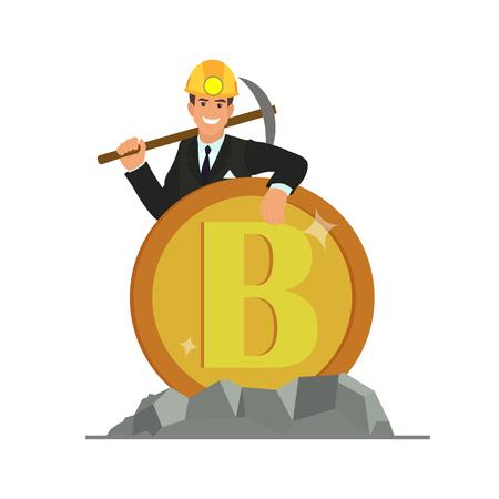 Bitcoin- und Blockchain-Weiterentwicklung. Geschäftsleute stehen neben bitcoin.vector Illustration.