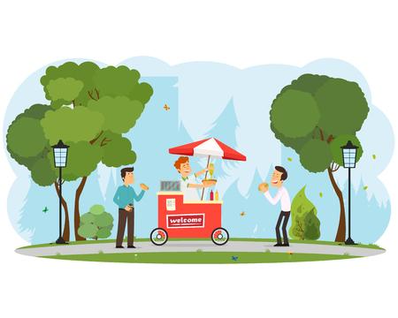 mensen kopen en eten hotdogs in het stadspark. vector illustratie