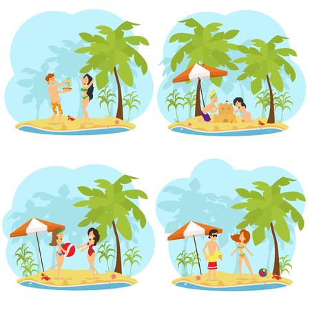 Menschen ruhen sich aus, sonnen sich und haben Spaß am Strand. Vektor-Illustration