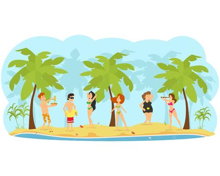 people rest, sunbathe and have fun on the beach. vector illustration Çizim
