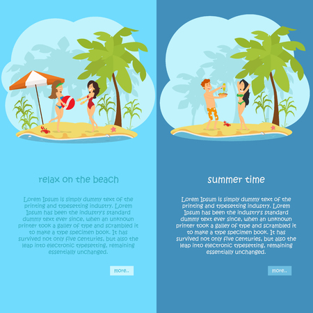 set of vertical banners on the theme of rest, travel, relaxation on the beach. vector illustration Illustration