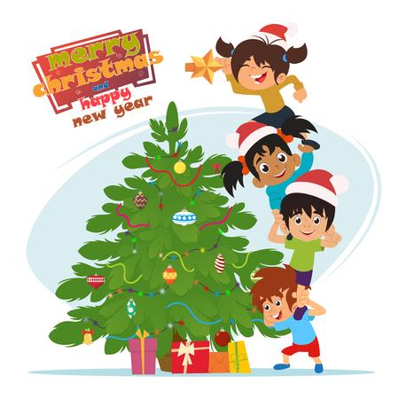 niños decorando el árbol de Navidad. ilustración vectorial