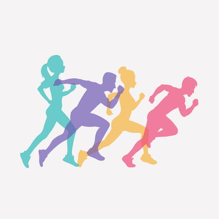 running people set of silhouettes, sport and activity background. vector illustration isolated on white background Stock Illustratie