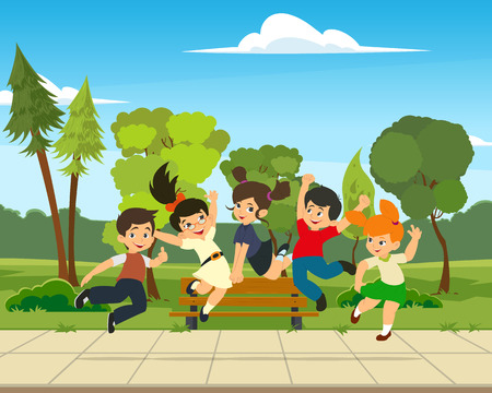 happy kids jumping and rejoicing isolated on white background.Concept of happiness, gladness and fun. Vector illustration for banner, poster, website, invitation.