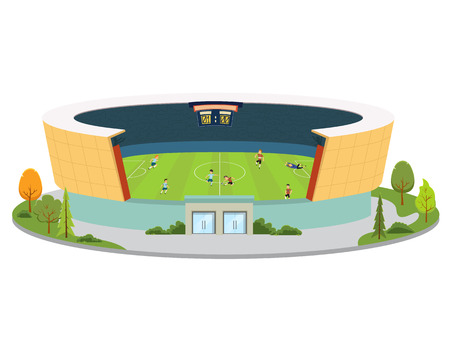 stadium with playing soccer players. vector Imagens - 117688920