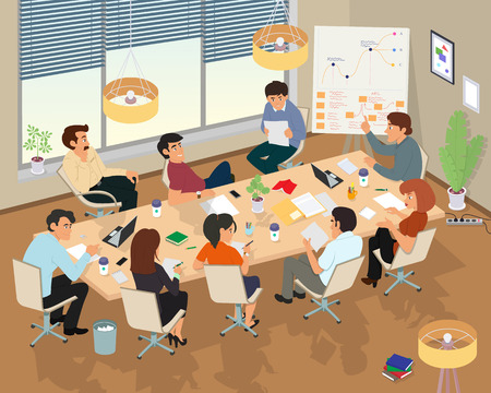 Concept of the coworking center. Business meeting. People talking and working at the computers in the open space office. Flat design style.
