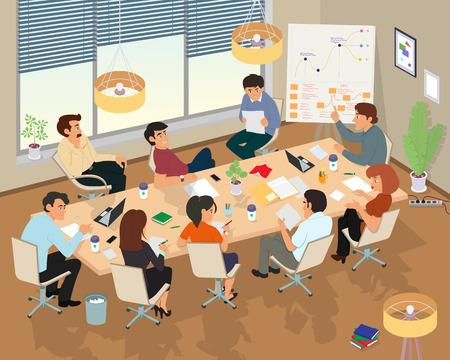 Concepto de centro de coworking. Reunión de negocios. Gente hablando y trabajando en las computadoras en la oficina de espacios abiertos. Estilo de diseño plano.