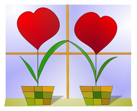 breach: Upset hearts wishing to heal the breach between them; hearts in vases sitting at the window