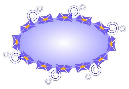 elliptic: Blue elliptic design element with a floral contour Illustration