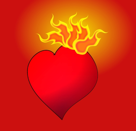 passionate: Passionate heart on fire