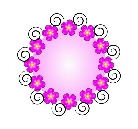Purple circular background with a floral contour Vector
