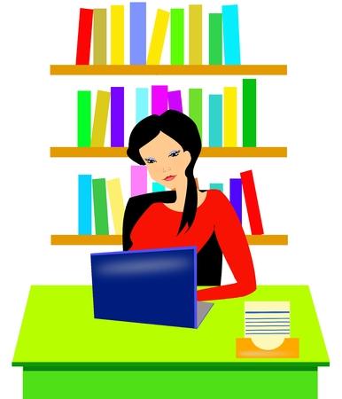 segretario: Giovane segretaria di lavoro presso la sua scrivania  Vettoriali