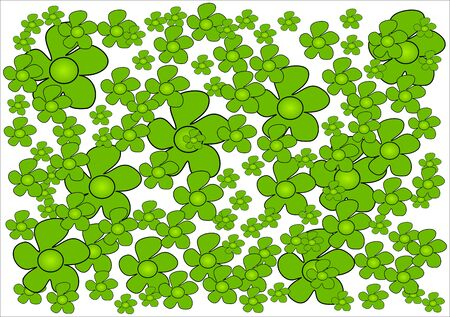 Green flowers hand drawn on white background Vector