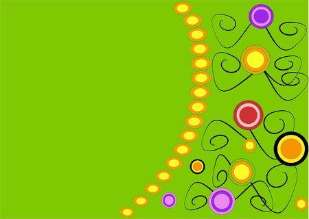 Multicolor circles on green background Vector