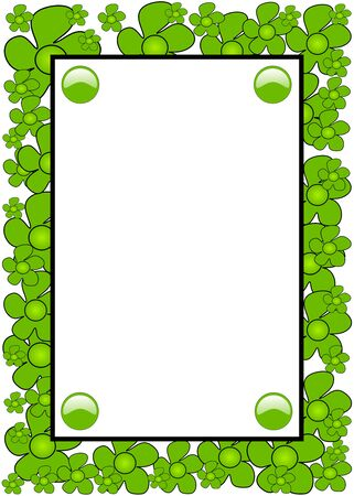 Green flowers hand drawn on white background frame Vector