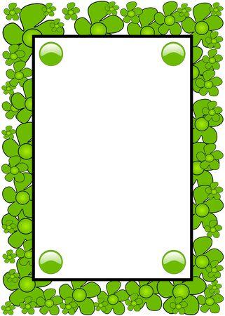 Green flores dibujado a mano sobre fondo blanco marco