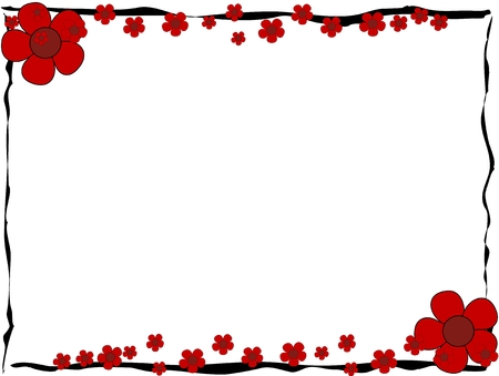 reds: Red flowers frame on white background Illustration