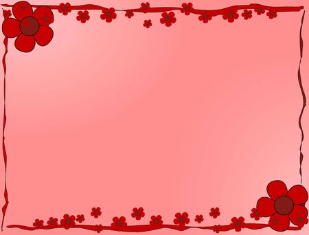 Red flowers frame on pink background Stock Vector - 3336664