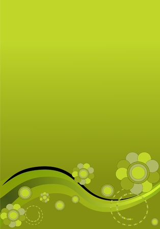 Green tones flowers, curves and circles background Vector