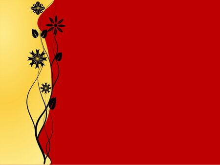 Red and golden floral background vector illustration Stock Vector - 3425815