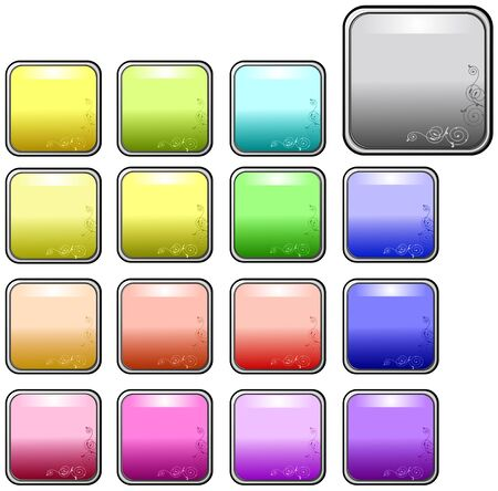Square rounded web buttons with a corner decoration Vector