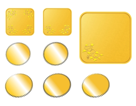 Square rounded golden web buttons with a corner decoration Vector