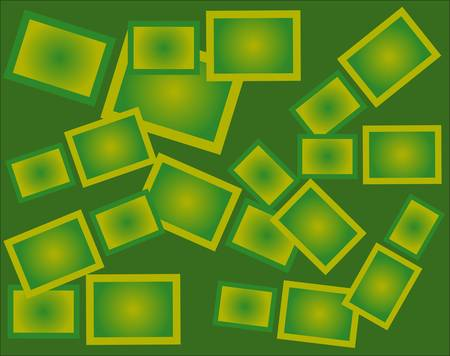 sized: A green background with contoured different sized green rectangles Illustration