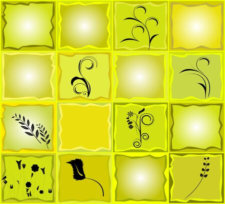 Floral green and yellow mosaic card Vector