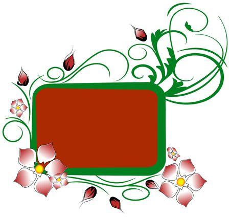 Red floral frame Vector