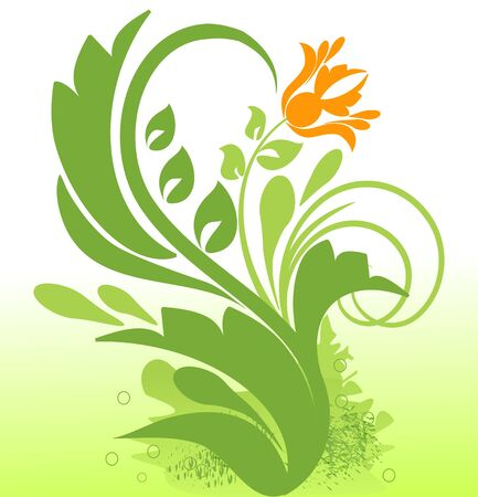 sample text: Floral green ornament