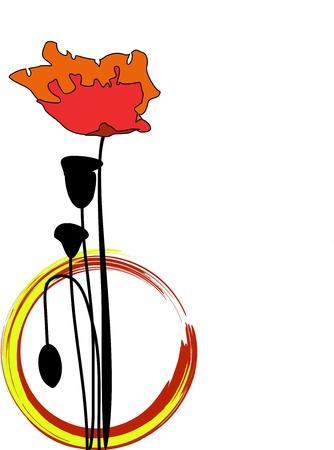 Poppy on white Vector