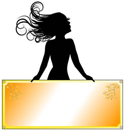 Girl with golden banner Vector
