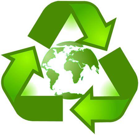 logo reciclaje: Reciclado planeta s�mbolo Vectores