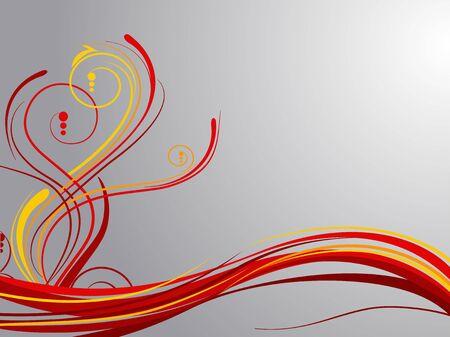fantasia: Red swirls over grey Illustration
